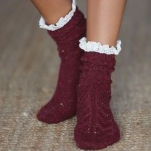 Free People Speckled Ruffle Socks
